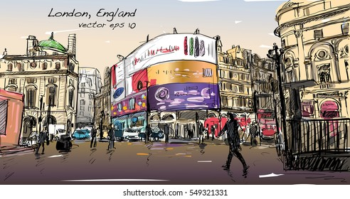 cityscape drawing sketch in London England, show walk street at corner LED light board, illustration vector