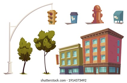 Cityscape elements with residential buildings, traffic light, fire hydrant, trash can and mailbox. Vector cartoon set of city street, houses, green trees and garbage bin isolated on white background