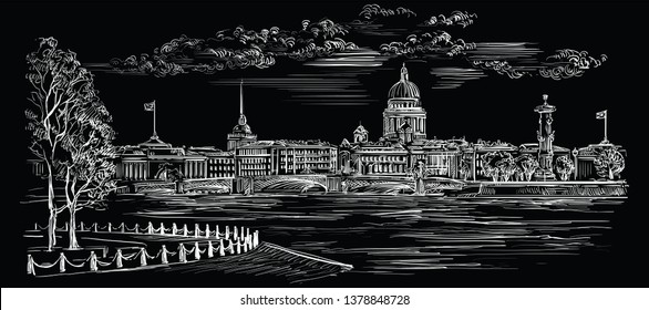 Cityscape of embankment  and bridge across Neva river in St. Petersburg, Russia. Isolated vector hand drawing illustration in white color on black background
