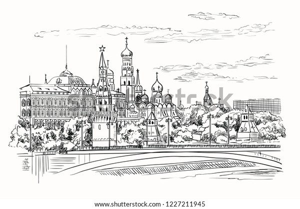 Cityscape of embankment of Kremlin towers and bridge across Moscow river (Red Square, Moscow, Russia) isolated vector hand drawing illustration in black color on white background