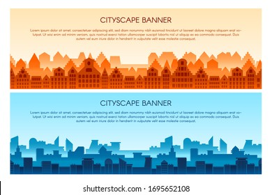 Cityscape flat vector banner templates set. Modern city panorama illustration with text space