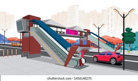 Cityscape with foot over bridge illustration