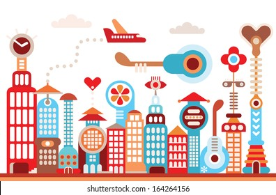 Cityscape of future city. Fantastic buildings - isolated vector illustration on white background.