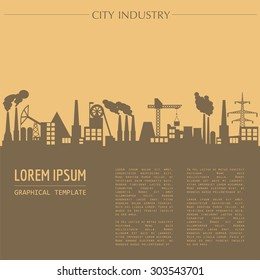 Cityscape graphic template. Industry city buildings. Vector illustration with different industrial buildings. City constructor. Template with place for text. Colour version
