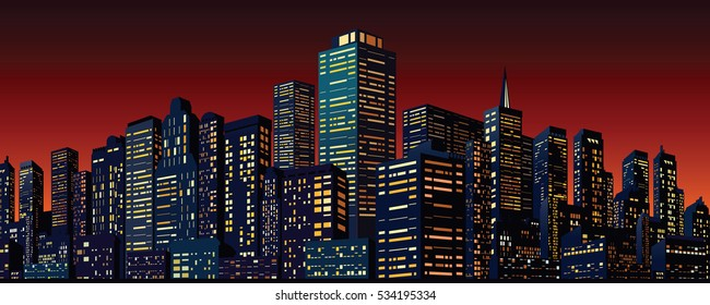 Cityscape with Group of Skyscrapers. Skyline Vector Banner for Your Text and Design.