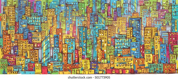 Cityscape hand drawn vector illustration