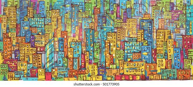 Cityscape hand drawn vector illustration