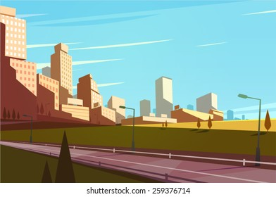 Cityscape with highway. Vector illustration.
