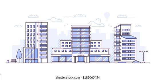 Cityscape with hospital - modern thin line design style vector illustration on white urban background. Purple colored composition with facade of city buildings, medical center, trees, bench, lantern