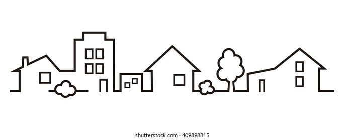 cityscape, houses and greenery, vector icon