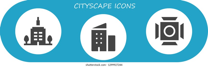 cityscape icon set. 3 filled cityscape icons.  Simple modern icons about  - Skyscrapper, Building, Scenic Illumination