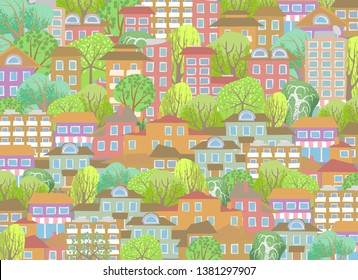 Cityscape Illustration. Cute town. Houses and trees.