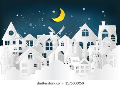 Cityscape int the cloudscape in the night as Merry christmas and winter season,paper art and digital craft style concept. vector illustration.