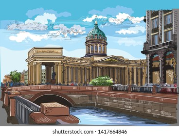 Cityscape of Kazan Cathedral in St. Petersburg, Russia and embankment of river.Colorful vector hand drawing illustration.