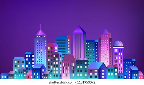 Cityscape landscape ultraviolet architecture city from flat urban building street skyscraper. Vector concept business