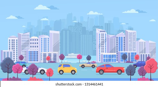 Cityscape with large modern buildings, urban transport, traffic on street, park with color trees and  river. Highway with cars on blue background.