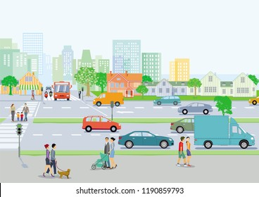 Cityscape with local traffic and pedestrians