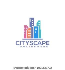 Cityscape logo, vector building web icon, label, urban landscape, city silhouettes, cityscape, town skyline, skyscrapers.