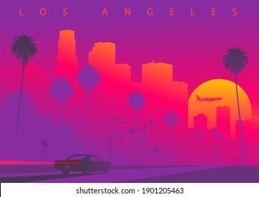 Stadtlandschaft von Los Angeles bei Sonnenuntergang mit der riesigen Sonne. Ein Auto fährt in Richtung Zentrum von LA. Farbige Vektorgrafik (Original, nicht abgeleitetes Bild)