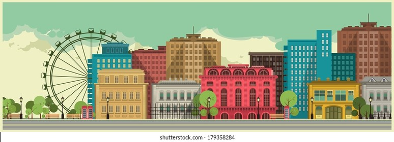 Cityscape made ??on a long strip suitable for large format printing