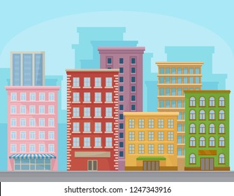 Cityscape with modern buildings, urban panorama, city street landscape vector Illustration