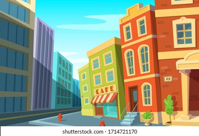 Cityscape. Modern city and old town on the same street. Historic urban area and modern buildings. Cartoon style.
