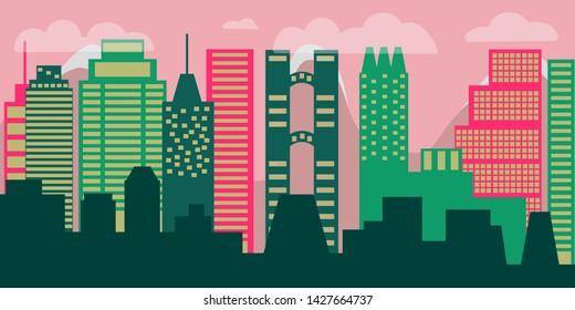 Cityscape. Modern City Skyline. Urban landscape. Daytime cityscape in flat style.