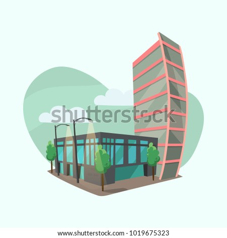 Cityscape With Modern Office Buildings. Vector Cartoon Style, Flat Design  Of Corporate Business Center