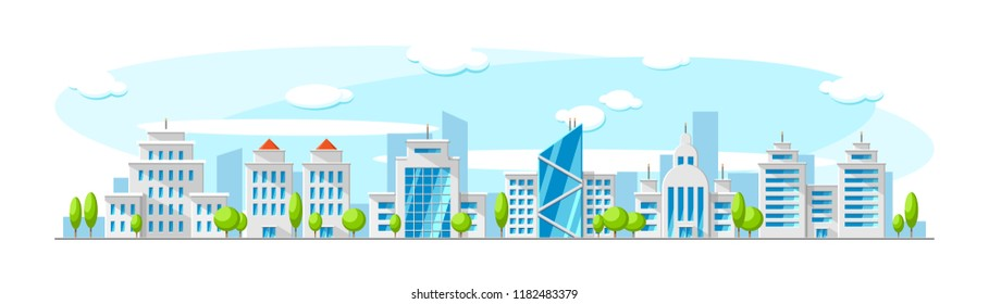 Cityscape with modern skyscrapper buildings like bank, office and apartment. Vector flat town illustration