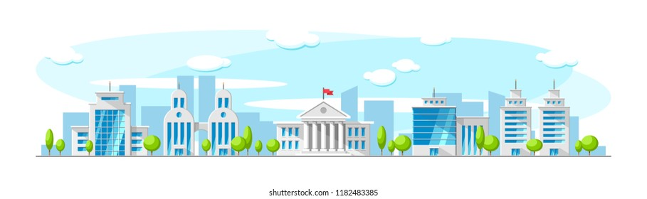 Cityscape with old parliament building and modern skyscrapper buildings like bank, office, apartment. Vector flat town illustration