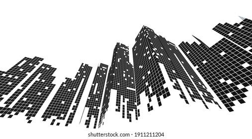 Cityscape on white background, Modern City skyline, city silhouette, Business center, Vector illustration in flat design.