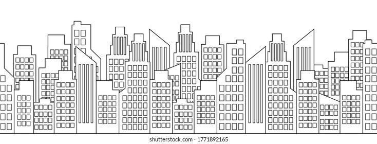 Cityscape outline, city houses seamless border, urban multi-story buildings silhouette, town frame background, black and white line drawing, isolated high-rise buildings in row. Vector illustration