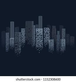 Cityscape Outline in Modern Digital Design Isolated on Blue Background. Urban Night Scene. Vector Illustration