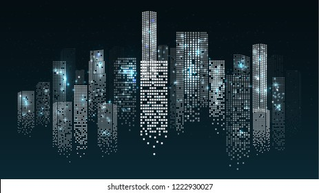 Cityscape Panorama Night View with Skyscrapers Isolated on Dark Background. Windows of Bildings Shine with Lights. Vector Illustration
