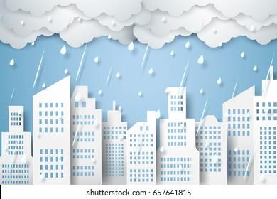 Cityscape with rain,  rainy season, paper art style