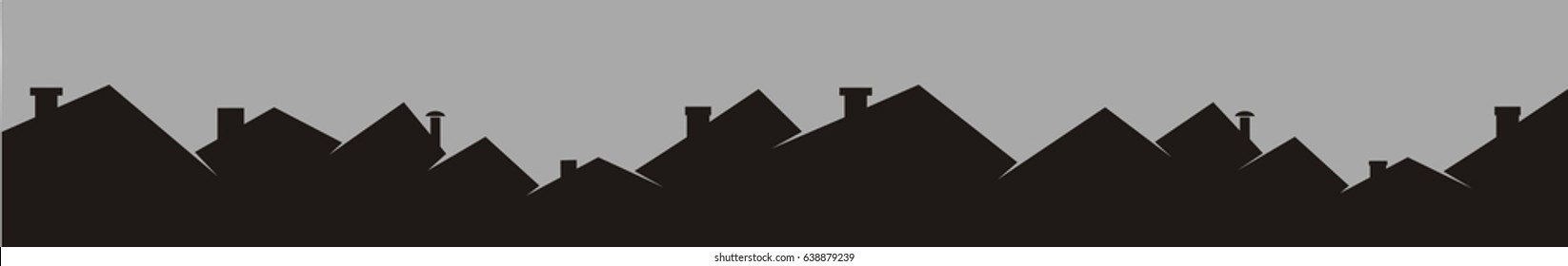 Cityscape, roofs. Vector background, black silhouette.