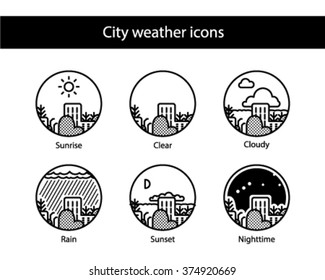 Cityscape round weather icons, black and white.