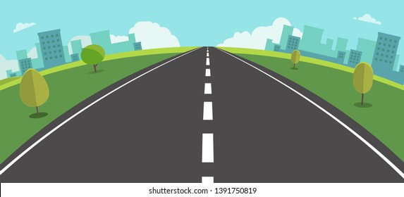 Cityscape scene with road , trees and sky background vector illustration.Main street to town Fisheye view.Urban scene with nature background.Beautiful nature landscape.