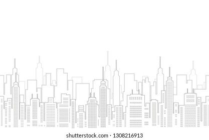 Cityscape seamless drawing with skyscrapers, vector illustration. Horizontally repeatable.