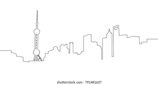 Cityscape of Shanghai on a white background, Vector illustration