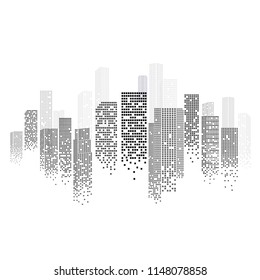 Cityscape Silhouette Isolated on White Background in Modern Flat Design. Monochrome View. Futuristic Technology Concept. Vector Illustration