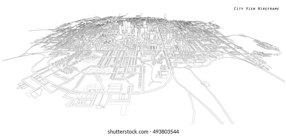 Cityscape Sketch, Vector Sketch. Architecture - Illustration