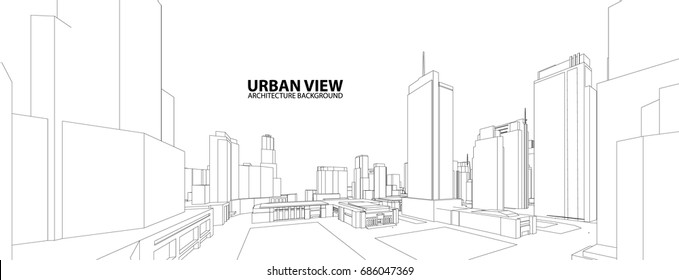 Cityscape Sketch, Vector Sketch. Urban Architecture - Illustration