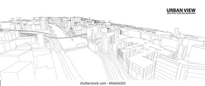 Cityscape Sketch, Vector Sketch. Urban Architecture - Illustration