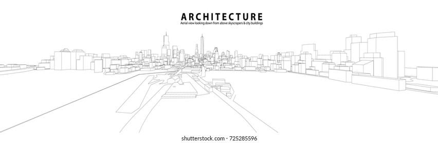 Cityscape Sketch, Vector Sketch. Urban Architecture - Architecture Illustration background.