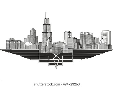 Cityscape and skyline of Chicago, Illinois. Architectural landscape of the city of Chicago.