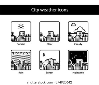 Cityscape square weather icons, black and white.