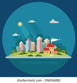 Cityscape - summer. Country house on a background of a big city. Flat style vector illustration.
