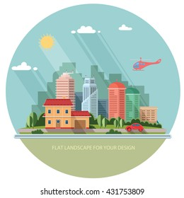 cityscape - summer  Country house on a background of a big city. Flat style vector illustration.