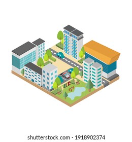 Cityscape with traffic and park isometric. Landscape icon. Vector illustration.